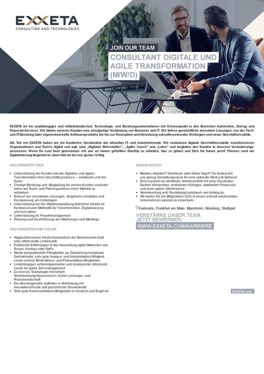 Consultant digitale und agile Transformation m/w/d in Karlsruhe ...