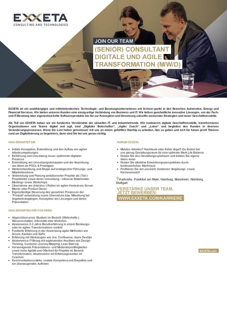 Senior Consultant Digitale und Agile Transformation m/w/d in ...